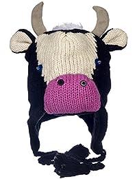 Gorro de lana de lana tejida a mano, diseño de vaca con forro polar para hombre y mujer, talla única, gorro de invierno de lana con calentadores de oídos y borlas, color negro