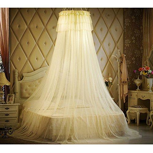 Prinzessin Spitze Moskitonetz Bett Baldachin Für Kinder Fliegen Insekt Schutz Indoor Dekorative Höhe 280 cm Top Durchmesser 1 M,Yellow -