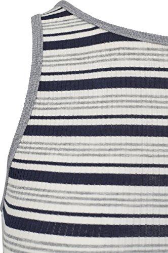 Urban Classic Ladies Rib Stripe Cropped Top, Canottiera Donna Multicolore (Navy/White/Grey 01312)