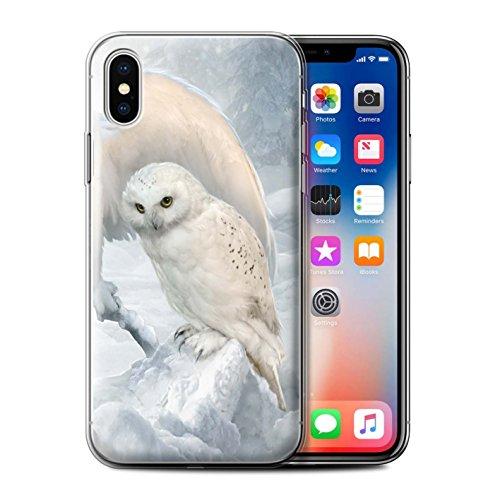 Offiziell Elena Dudina Hülle / Gel TPU Case für Apple iPhone X/10 / Schöne Pfau Muster / Die Vögel Kollektion Winter-Eulen/Arktis