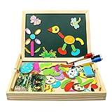 Magnetisches Holzpuzzle, Puzzle Holz Spiele mit Doppelseitiger Tafel und 3 Bunte Stifte für Zeichnung, 70 Stück Pädagogisches Holzspielzeug und Tolles Geschenk für Kinder ab 3 Jahre