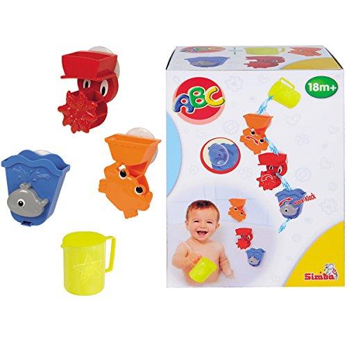 ABC Badespielset mit Wasserspielaktivitöten, Becher und Saugnöpfe: Bade Tier Wasserrad Badespaß Wasser Badewannen Spielzeug Badespielzeug