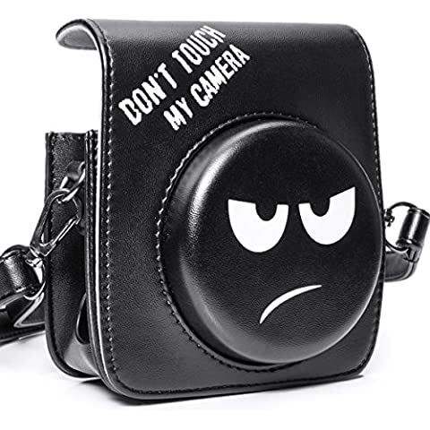 Woodmin PU Bolsa de Cuero Protectora para Fujifilm Instax Mini 90 Cámara (Negro)