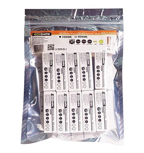 ECOBELLE 10 x Lampadine LED G9 5W alta potenza e flicker free, 650 Lumen, Bianco Caldo 3000K, Dimensioni ridotte: 6.30 cm x 1.86 cm