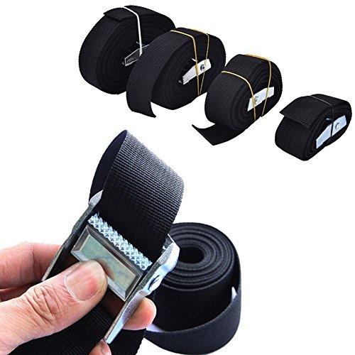 Correa de amarre resistente, con hebilla de bloqueo acolchada para la leva, resistente para uso con correa de trinquete - seguro para remolque de motocicletas, kayak, jeep, ATV, UTV (1 m, negro)