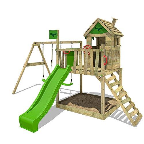 FATMOOSE Spielturm RockyRanch Roll XXL Stelzenhaus Spielhaus mit Doppelschaukel, Rutsche und großem Sandkasten
