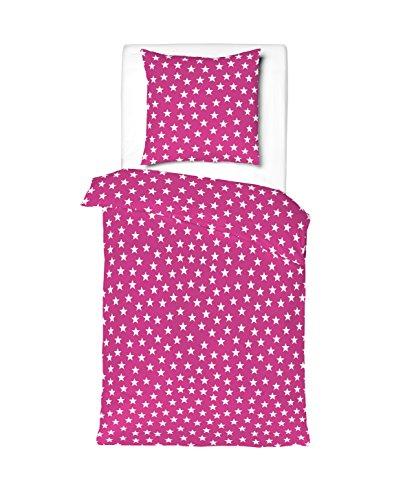 Aminata Kids - Kinder-Bettwäsche-Set 135-x-200 cm Stern-e-Motiv Star Sternchen 100-% Baumwolle Renforce pink-e Weiss-e
