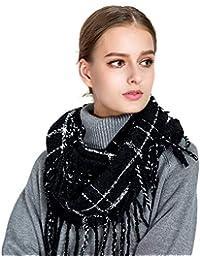 c4206427d73f Tacobear Femmes Tricot Laine Écharpes Carreaux Rcharpe hiver chaud épais  foulard boucle Cercle Echarpe tricotée Snood