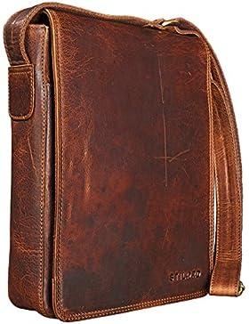 STILORD 'Joris' Umhängetasche Leder mittelgroß Vintage Messenger Bag für 10,1 Zoll Tablets für iPad Schultertasche...