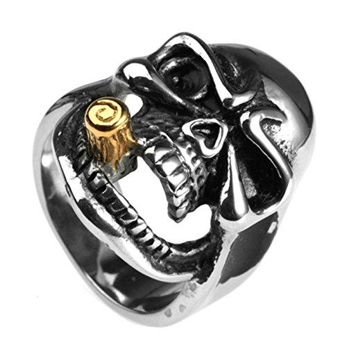 BeyDoDo Modeschmuck Edelstahlring Herren Ring Edelstahl Rauchen Totenkopf Schädel Herrenring Ring Silber Ringgröße 57 (18.1)