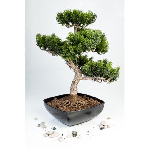 artplants Künstliche Bonsai-Pinie in Schale mit 210 Spitzen, 50 cm, outdoor – hochwertiger Kunstbonsai Kunststoff Bonsai
