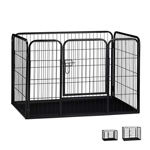 Relaxdays Welpenauslauf Größe L mit Boden, Laufstall für kleine Hunde, Kaninchen und Welpen, Innen, 70x108x73cm, schwarz