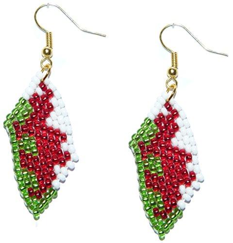 Glasperlenohrringe im Design der Wales, Walisisch, Roter Drache Flagge – Handgefertigter Perlenarbeiten