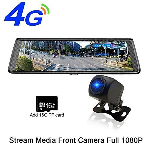 """10"""" Dash Cam 4G Auto DVR Stream Medien Android Rückspiegel Voller Touchscreen 1080 P HDR Frontkamera Adas Bluetooth Wifi Nachtsichtspiegel Navigator"""