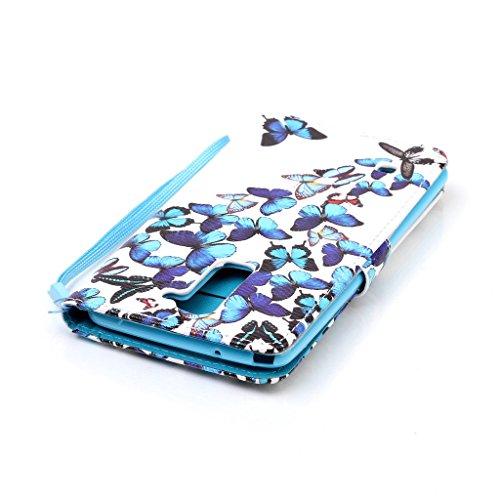 LG G Stylo 2/Stylus 2/LS775/K520 Hülle [Bildschirmschutz aus gehärtetem Glas], Grandoin Retro Leder Foliant Stoßabfangende Hülle, exzellente Qualität buntes elegantes Muster Design Premium PU Verschlu Blue and White