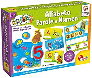 Lisciani - Juego Educativo Carotina Maxi (versión Italiana) Alfabeto, Palabras y números (Alfabeto Parole e Numeri)