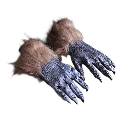 Kostüm Zu Eine Hause Wolf - BESTOYARD Halloween Werwolf Handschuhe Erwachsene Party Gruselige Wolf Kostüm Kleid Scary Handschuhe (Schwarze Wolfsklaue Handschuhe)