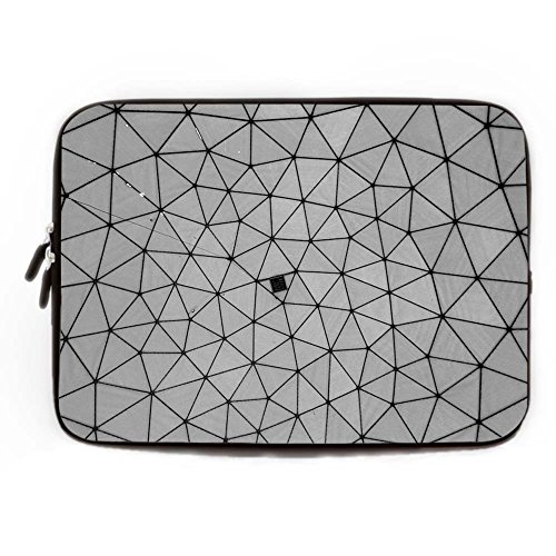 Grey Geometric Laptop Case Protection Neoprene 10-10.8 Inch Moroccan Geometry Pattern Laptop Sleeve Soft Water Resistance Computer Case for Lenovo HP Sony Toshiba Powerbook Sony Zip