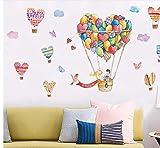 Pegatinas de pared globo de aire caliente de dibujos animados amor corazón calcomanías de pared para niños habitación dormitorio sala de estar autoadhesiva arte Diy Mural