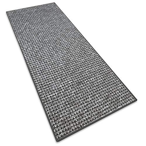 Teppichläufer Grandeur |Teppichläufer Meterware |für Wohnzimmer, Flur, Büro, Schlafzimmer, Küche, Esszimmer |gekettelt | mit Stufenmatten Kombinierbar | Viele Farben | Viele Größen (Grau, 50x200 cm)