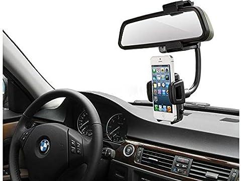 System-S KFZ Auto Rückspiegel Halterung Halter für Handy Smartphone und andere (Gps Specchietto Retrovisore)