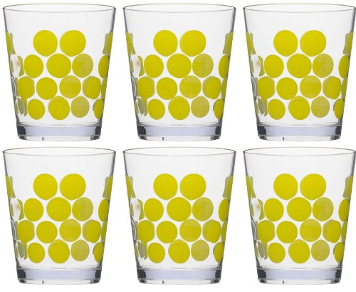 Zak Designs Dot Dot Double Old Fashioned Tumbler, 14-Ounce, Kiwi, Set of 6 by Zak Designs 14 Oz Double Old Fashioned