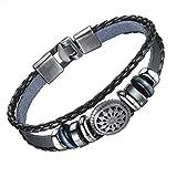 iBegem Magnifique Bracelet unisexe de type Tibétain en cuir noir orné de breloques en bois multicolores et soleil fait main- Cadeau Anniversaire