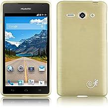 [ Huawei Ascend Y530 Case ] - Funda JammyLizard De Silicona Pearly Gel Efecto Nacarado Metalizado Back Cover, DORADO