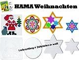 HAMA Stiftplatten-Set midi Weihnachten Nikolaus Weihnachtsmann + Stern klein + Stern groß + Kreis + Malheft