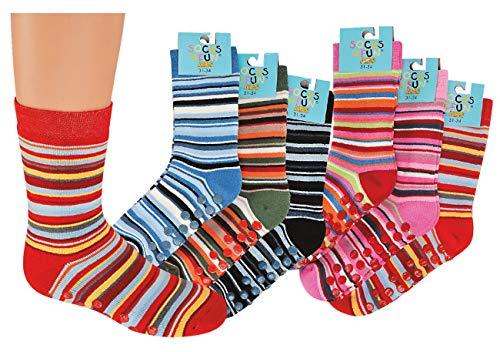 TippTexx 24 6 Paar Kinder Thermo Stoppersocken, ABS Socken für Mädchen und Jungen, Ökotex Standard, Strümpfe mit Noppensohle, viele Muster (Ringel, 27-30) (Für Winter-socken Mädchen)