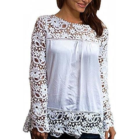 Vale® más mujeres del tamaño escarpado del bordado de la blusa de gasa de encaje de ganchillo Camisa -
