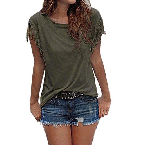 Tops blusa,maglietta donna manica corta a blocco chiffon sciolto estate t-shirt cime camicie,yanhoo® camicia a maniche lunghe ampia da donna (xxl, verde militare)