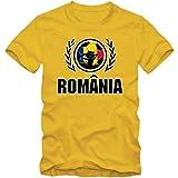 Rumänien WM 2018#2 T-Shirt | Fußball | Herren | Trikot | Tricolorii | Nationalmannschaft, Farbe:Gelb (Gold L190);Größe:L