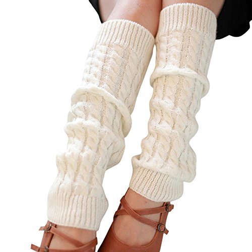 TWIFER Mode Frauen Winter Warm Stulpen Gestrickt häkeln Lange Socken Beinwärmer (Weiß, 42*10cm)