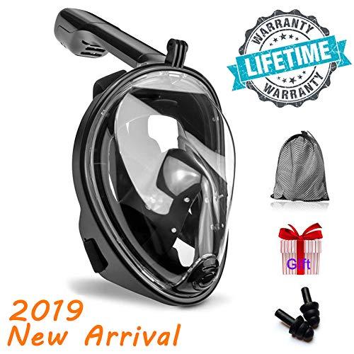 KerKoor Tauchmaske Schnorchelmaske mit 180° Grad Sicht, Anti-Fog und Anti-Leck, frei Atmen- Design-Schnorchel Maske, unterstützt für Sport Kamera -