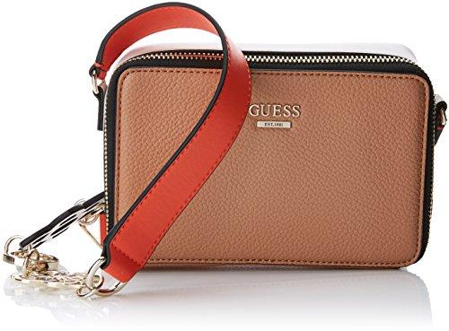 Guess Damen Bags Hobo Umhängetasche, Mehrfarbig (Tan Multi), 6.5x12x18.5 centimeters