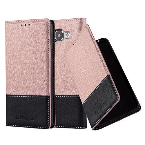 Cadorabo Coque pour Samsung Galaxy A3 2016 en Rose Noir – Housse Protection avec Fermoire Magnétique, Stand Horizontal et Fente Carte – Portefeuille Etui Poche Folio Case Cover
