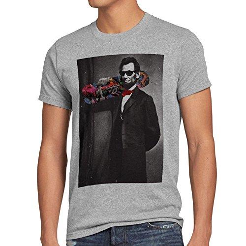 style3 Skater Abe T-Shirt Herren Abraham Lincoln, Größe:L;Farbe:Grau meliert (Abe Lincoln-shirt)