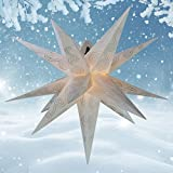 55 cm - Außenstern - Komplettset incl. Kabel & Glühbirne Outdoor Adventsstern Weihnachtsstern 3D Faltstern 15 Zacken weiß-Glitter
