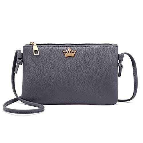 SUCES Handtasche Damen Klein Tasche Faux Leder Frauen Umhängetasche Einfach Schick Schultertaschen Klassisch Täglich Messenger (Dunkelgrau,one size) -