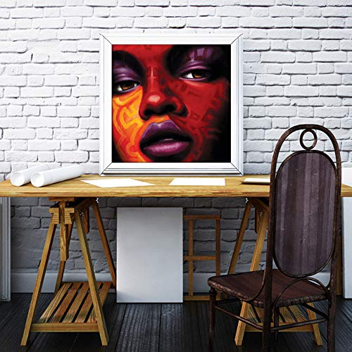 WSNDGWS Carácter Pintura al óleo Cara Decoración del hogar Pintura Sin Marco de Imagen E5 60x60cm