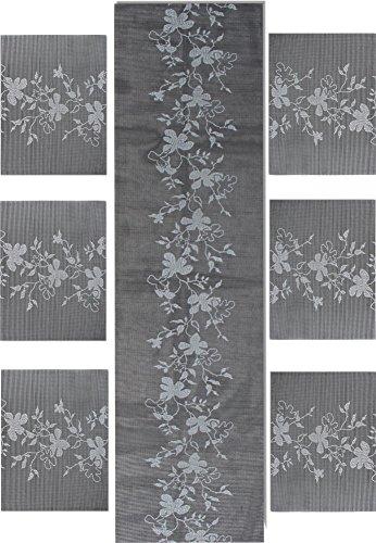 GearUp normani Tischläufer 150 cm Tischdecke mit Passenden 2, 4 oder 6 Platzdecken wählbar| Mitteldecke| Tischdekoration| Tischband sehr Pflegeleicht Farbe Floral Grau Tischläufer + 6 Platzdecken