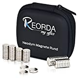 Reorda® Neodymmagnete mit maximaler Magnetstärke - Hochwertige Magnetsets aus 60 extra starken Supermagneten 10x2mm - Neodym Magnet Set - vielseitig einsetzbar