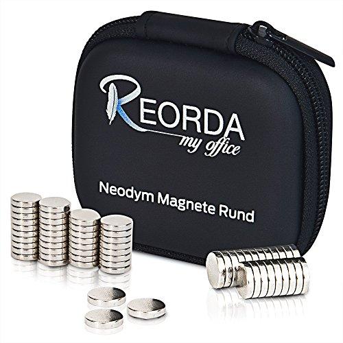 Reorda Neodymmagnete mit höchstmöglicher Magnetisierung - Hochwertige Magnetsets aus 30 oder 60 extra starken Supermagneten 10x2mm - Neodym Magnet Set - vielseitig - Eisen-box-board