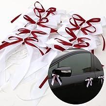 CLE DE TOUS - Cinta Lazo de Raso para Boda Fiesta Ribbon de Wedding Party Regalo 10pcs Color Blanco con Granate