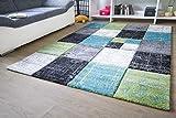 Designer Teppich Modern - Modena - Karo Grau Türkis Öko-Tex Karo Muster, Größe 80x150 cm