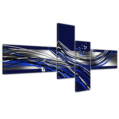 Cuadros tres y más partes en Lienzo - Arte abstracto Abstracto VIa azul - 200x90cm 4 partes - Listo tensa. Made in Germany!!!