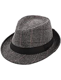 cb05cecd910 Felt Trilby Hat Men Gentleman Autumn Winter Plaid Fedora Jazz Hats  Multicolor