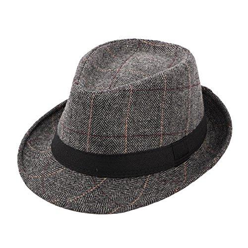 Cappello Fedora Jazz Trilby Feltro Uomo Donna Plaid Berretti Autunno  Inverno 0fc5f36c547c
