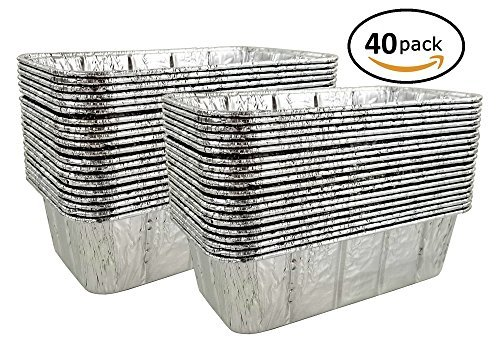 """Pactogo 2 lb. Disposable Aluminum Foil Loaf Bread Baking Pan 8.6"""" x 4.5"""" x 2.6"""" - Heavy Duty Made in USA (Pack of 40)"""